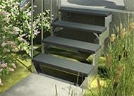 Außentreppe DOLLE Gartentop mit 4 TRIMAX Stufen in Anthrazit