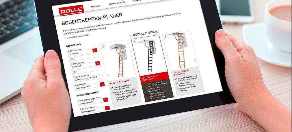 Der neue Bodentreppenplaner von DOLLE findet das richtige Modell für Sie