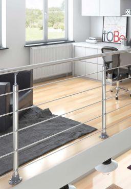 DOLLE Aluminium Geländer-Set für Innen und Außen, 150 cm, kürzbar, aufgesetzt, Ambientebild nah. Geländer für Brüstung, Treppe, Balkon und Terrasse