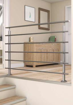 DOLLE Geländerset Aluminium Tropfenform PS 200, 150 cm, Bodenmontage im Innenbereich