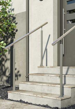 DOLLE Edelstahl Eingangsgeländer-Set, für Innen und Außen, 150 cm, kürzbar, aufgesetzt, Ambiente. Geländer für Eingangstreppe