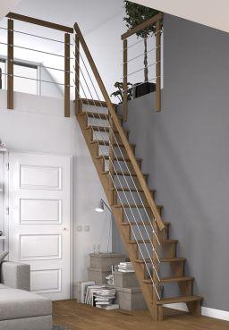 Dolle Raumspartreppe Lyon in Eiche, geradelaufend, mit Geländerstäbe aus Metall