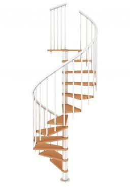Spindeltreppe DOLLE Montreal mit Stufen aus Multiplex-Holz mit Deck- und Kantenfurnier aus Buche und weißer Metallunterkonstruktion.