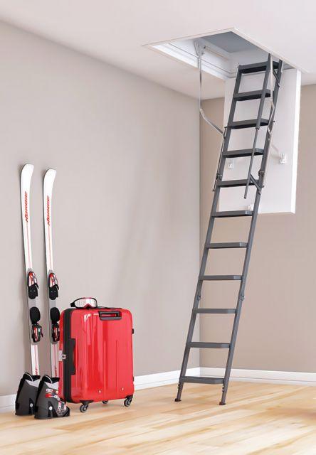 Bodentreppe clickFIX comfort mit Stahlleiternteil, Komforstufen, Teleskophandlauf