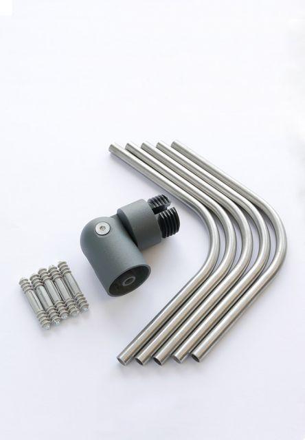 DOLLE Eckverbindungsset Aluminium anthrazit für Geländerset Bodenmontage und Wandmontage