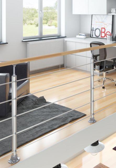 DOLLE Aluminium Geländer-Set mit Handlauf aus Buche, für Innen, 150 cm, kürzbar, aufgesetzt, Ambiente innen. Geländer für Treppe und Brüstung