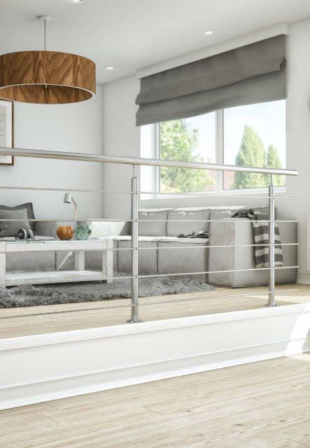 DOLLE Edelstahl Geländer-Set für Innen und Außen, 150 cm, kürzbar, aufgesetzt, Ambientebild. Geländer für Brüstung, Treppe, Balkon und Terrasse